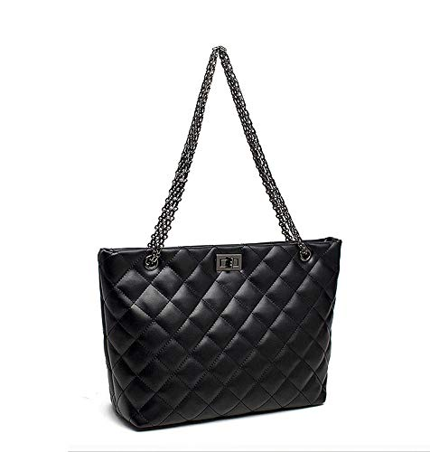Moonlitt Quilted Handbags for Women Metal Chain Strap Purse Shoulder Bags Flat Tote Black