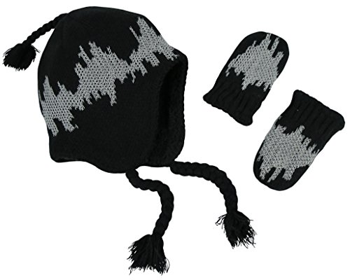 N'Ice Caps Little Boys and Baby Sherpa Lined Micro Fleece Pilot Hat Mitten Set (Sherpa Lined Black Knit / Glows - Infant, 6-18 Months)