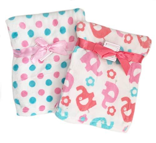 2-Pack Super Soft Plush Lightweight Furry Fleece Animal Zoo Aqua Blue Pink Coral Elephant Polka Dots Baby Girl Blanket Twins Gift - Light Blue Zoo Coral
