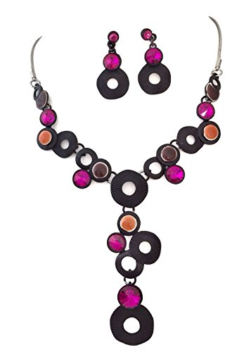 Gypsy Jewels Pink Tones Gem Dot Black Metal Circles Bubble Boutique Necklace Earrings Set