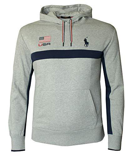 Polo Ralph Lauren Men's Fancy Fleece Pullover Athletic USA Hoodie (M) Grey Heather (Usa Polo Ralph Lauren)