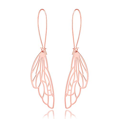 10K Gold Color Dragonfly Wing Dangle Earring 3 Tone (rose - Pendant Dragonfly Gold 10k