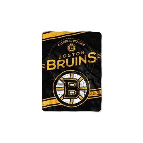 Officially Licensed NHL Boston Bruins Stamp Plush Raschel Throw Blanket, 60
