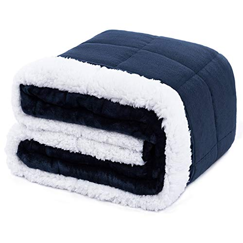 Anjee Sherpa Flanel Weighted Blanket for Adults, 5.4kg, 120 x 180cm Navy Blue, Double-Sided Super Soft and Fluffy Fleece and Sherpa Heavy Throw Blanket, améliorent Le Sommeil