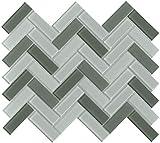 Emser Tile W80CHARGL1013MHB Charisma - 9-11/16'' x 13-1/16'' Herringbone Backsplash Mosaic Tile - Varied Glass Visual