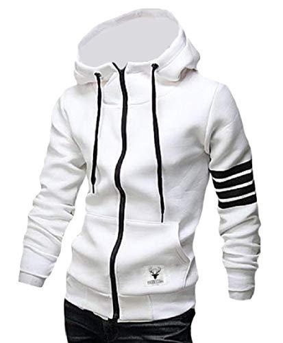 (Freely Mens Zip Pocket Splicing Lounge Long-Sleeve Hoode Sweatshirts Coat White M)