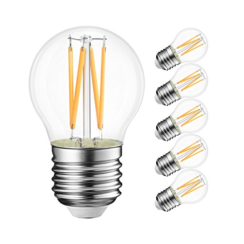 G14 LED Globe Bulb 4W(40W Incandescent Equivalent), LVWIT 2700K Warm White E26 Screw Base Non-Dimmable LED Filament Bulbs, Pack of ()