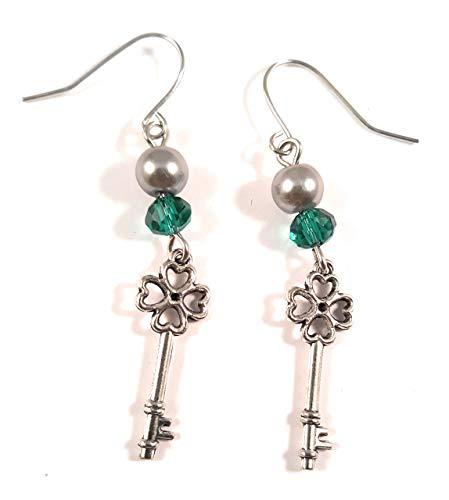 - Handmade Shamrock Key Earrings nickel free Blackenedruby Jewelry