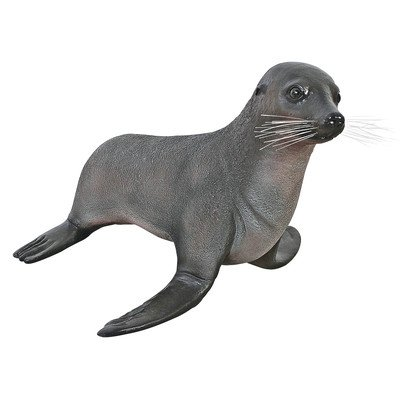 Design Toscano The Baby Fur Seal Statue, Multicolored Baby Seal Fur