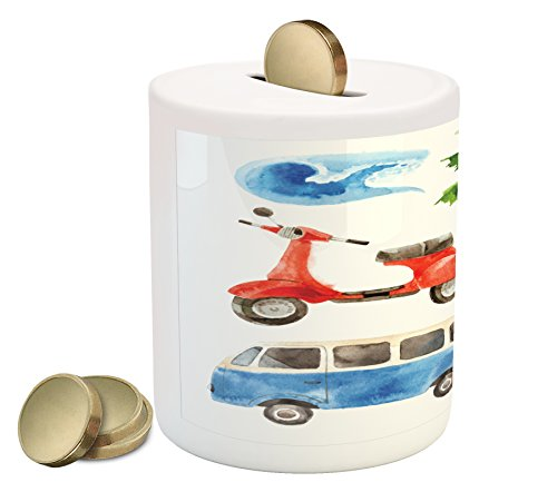 Cheap  Hawaiian Coin Box Bank by Lunarable, Old School Moped and Hippie Van..