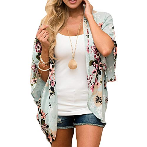 ECOMBOS Damen Florale Kimono Cardigan - Chiffon Cardigan Tops Casual Lose Bluse Shawl Sommer Boho Beach Cover up Leichte Strand Jacke