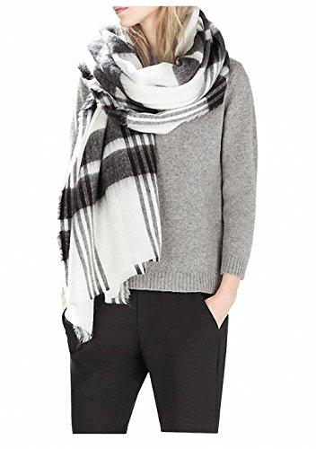 White Black Scarf (Afibi Women's Winter Plaid Checked Shawl Cape Tartan Blanket Oversized Scarf (black&white))