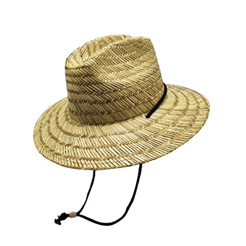 Youmymine Men's Straw Sun Classic Beach Hat Raffia Wide Brim, Natural/One Size/Adjustable Hat ()