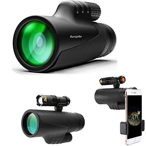 12X42 High Power Prism Monocular Focus Waterproof Spotting Scopes, Night Vision with Smartphone Holder and Fill Light- BAK4 Prism FMC for Bird Watching Hunting Camping Travelling ()