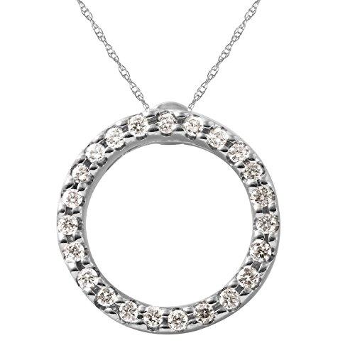 Gold Ruby Circle Pendant (0.15 Carat Natural Diamond Ruby 18K White Gold Circle Pendant Necklace for Women)