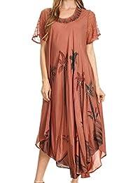 Sakkas Watercolor Palm Tree Tank Caftan Dress