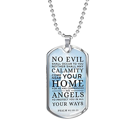 (Express Your Love Gifts Psalm 91:10-11 Stainless Steel Silver Tone Military Dog Tag Necklace w 24