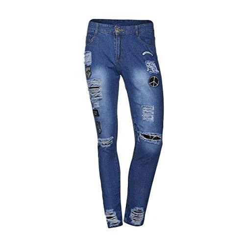 Distrutti Giovane Streetwear Casual Pantaloni Saoye Moto Elasticizzati Estive Slim Jeans Fashion Uomo Creste Blau Denim Fit Logo Da qXgCgwB