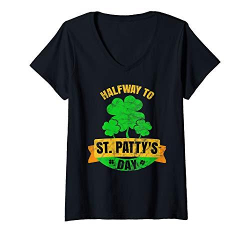 Womens September 17 Halfway 1/2 Year to St. Patricks Day Pattys   V-Neck ()