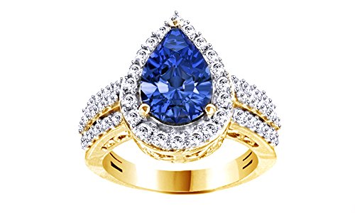 Jewel Zone US Simulated Blue Tanzanite & White Cubic Zirconia Solitaire Ring in 14k Yellow Gold Over Sterling Silver