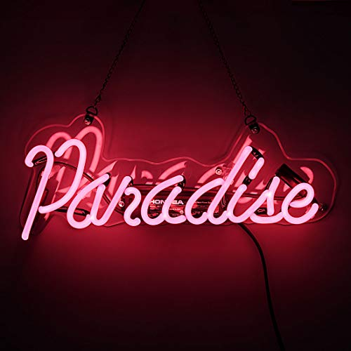 - Neon Light Sign Paradise Neon Bar Sign Handmade Glass Neon Sign for Gift Pub Recreation Room Christmas Party Cafe Store Bedroom Wall Decor Lamp 14 x 6 Inch Pink