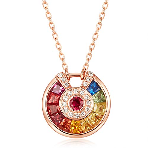 (Carleen 18K Solid Rose Gold Genuine Natural Multi Colored Sapphire Diamond Round Circle Pendant Necklace for Women Girls Women, 16