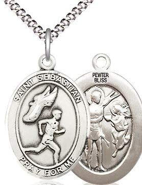 18 Rhodium Plated Clasp Chain Mens Track /& Field St Sebastian Medal in Fine Pewter 3//4 tall