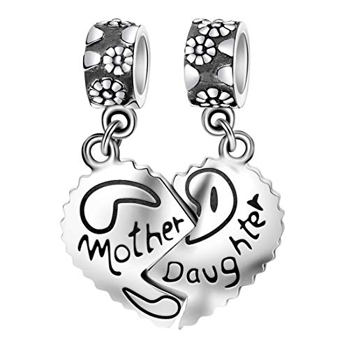 (DALARAN 925 Sterling Silver Mother Daughter Split Heart Dangle Charm for European Charm Bracelet Love Bead)