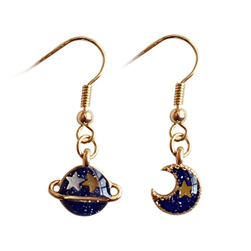 18K Gold Plated asymmetric Dream Blue Moon Star and Universe Women Tassel dangle Earrings