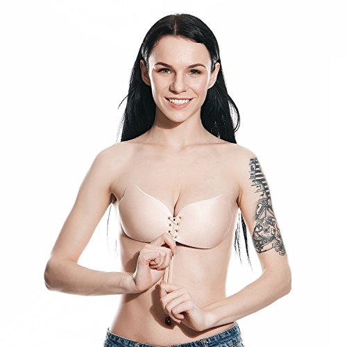 Self Adhesive Bra, Silicone Push Up Strapless Bras, Backless Reusable Invisible Drawstring Bra by Comfy Vicky