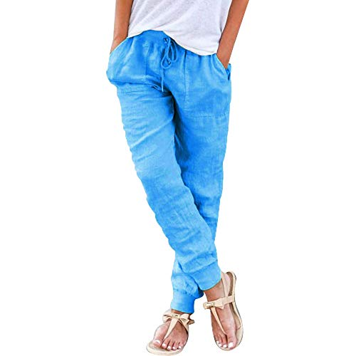 Puimentiua Women's Tapered Pants Linen Drawstring Back Elastic Waist Pants Trousers with Pockets.