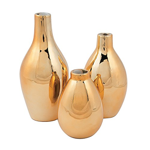 Gold Metallic Vase Set -