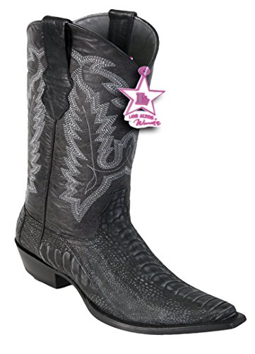 Genuine Leg Snip Altos Los Toe Boots Western Leather Ostrich Black Ladies 0ISqanaf