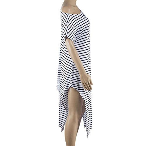 Mujer Atractiva Rayado Oblicua Vestido Atractivo Cabestro Irregular Playa Vacaciones White