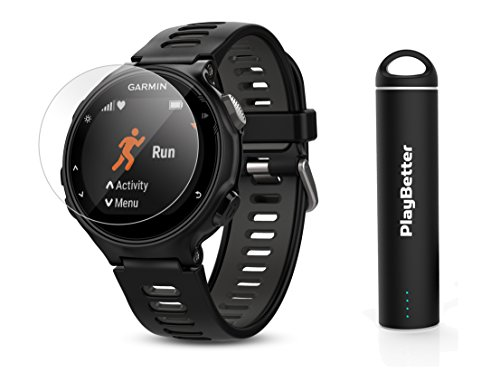 Garmin Forerunner 735XT (Black/Gray) Power Bundle | Includes HD Glass Screen Protectors (x2) & PlayBetter Portable Charger | Multisport GPS Training (New Pool Equipment Package)