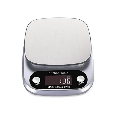 Rophie Digital Food Scale, 22lb 10kg, Multifunction Food Scale with Large LCD Display and Tare Function for Baking Kitchen Cooking, Stainless Steel Plate Digital Kitchen Scale