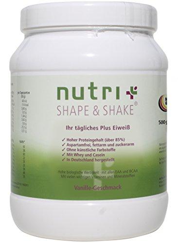 Nutri-Plus Shape & Shake 500g Vanille mit Whey + Casein - Proteinpulver ohne Aspartam - Dose inkl. Dosierlöffel