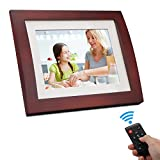 Digital Photo Frame 8 Inch - 16:9 Digital Picture Frame Calendar Clock Function Wooden Digital Frame Bsimb SW02 (Brown)