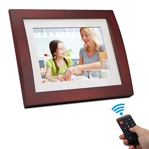 Digital Photo Frame 8 Inch - 16:9 Digital Picture Frame Calendar Clock Function Wooden Digital Frame Bsimb SW02 (Brown) by Bsimber