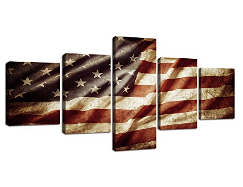 (Retro American Flag Canvas USA Flag Print Art Blue and White Red Home Decor Wall Art Independence Day Pictures for Living Room 5 Panel Large Poster Painting Framed Ready to Hang(50''W x 24''H))