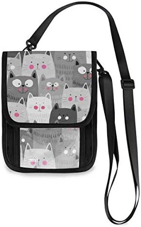トラベルウォレット ミニ ネックポーチトラベルポーチ ポータブル 可愛らしい 猫柄 小さな財布 斜めのパッケージ 首ひも調節可能 ネックポーチ スキミング防止 男女兼用 トラベルポーチ カードケース