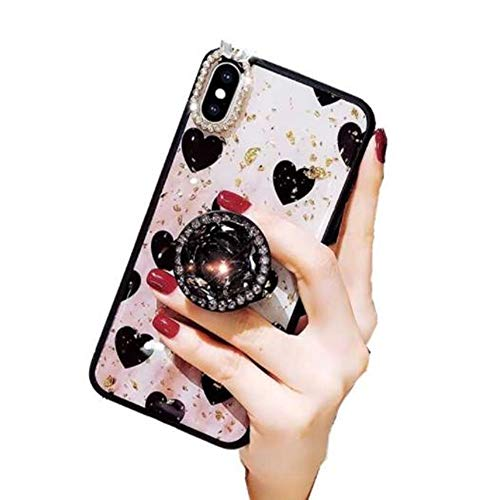 iPhone Xs Max Bling Ring Stand Case,Aulzaju iPhone Xs Max Super Soft Crystal TPU Shiny Shockproof Case Fashion Beauty Love Heart Cover for iPhone Xs Max 6.5 Inch