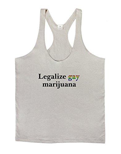 Legalize Gay Marijuana Mens String Tank Top - Light Gray - Large