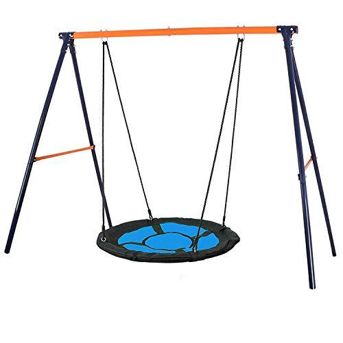 "HomGarden Swing Set Combo 40"" Kids Web Tree Swing Saucer Swing + Heavy Duty All Steel A-Frame 70.9"" Height Spinner Swing Set All-Weather for Outdoor"
