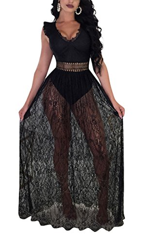 Antique Style Women's Girls Sexy Deep V-Neck Sleeveless Backless Mesh See Through Bodycon Bandage A-line Party Club Swing Long Dress Black L