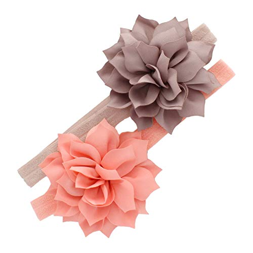 My Lello Baby Petal Flower Headbands Mixed Colors 2-Pack (Taupe/Petal ()