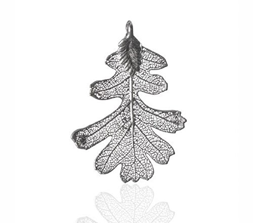 London Manori Real Lacey Oak Leaf Pendant Dipped in Sterling Silver (2 - Pendant Oak Silver Leaf Sterling