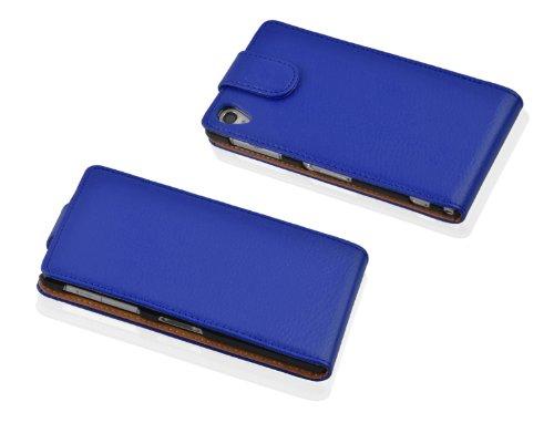 Cadorabo - Funda Flip Style para Sony Xperia Z1 COMPACT (L39H) de Cuero Sintético - Etui Case Cover Carcasa Caja Protección en MARRÓN-COGNAC AZUL-REAL