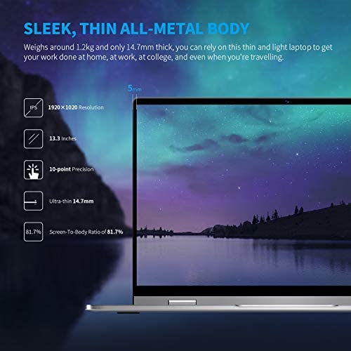 """BMAX Y13 13.3"""" 2 in 1 Convertible Laptop, FHD(1920 x 1080) Touchscreen , 8GB DDR4, 256GB SSD, Intel Quad Core N4120, WiFi, Bluetooth, USB-C, Windows 10, Thin and Light All-Metal Body WeeklyReviewer"""