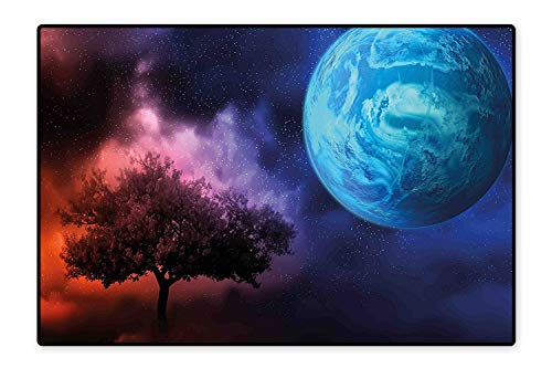 Area Rug for Kid Tree of Life Theme with Moon Spiritual Mystery Futuristic Fantasy Mythical Pink Blue Easy Clean Stain Fade Resistant 4'7